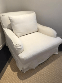 Restoration Hardware Roll Arm Slipcovered Chair | Chairish