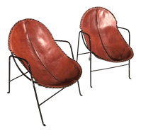 Mexican Modern Leather & Iron Chairs | Chairish