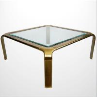 Mid-Century Modern Brass Mastercraft Coffee Table   Chairish