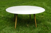 Mid-Century White Marble Cocktail Table | Chairish