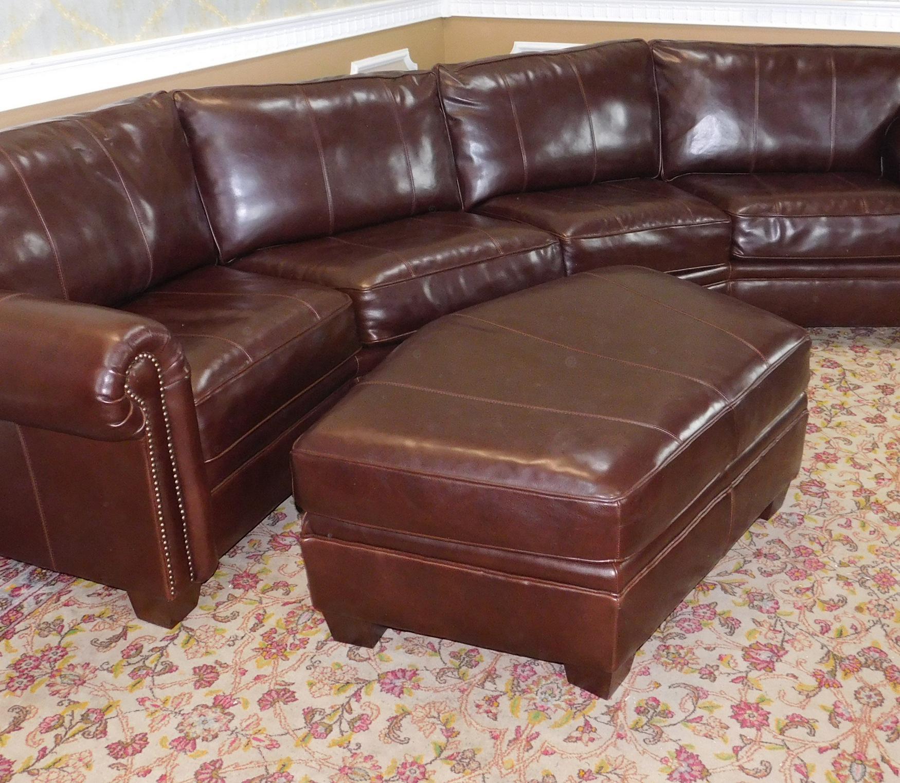 bernhardt brown leather club chair ball game 3-piece sectional sofa & ottoman | chairish
