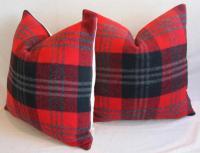 Scottish Tartan Plaid Wool Pillows - Pair | Chairish