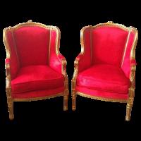 Antique Louis XVI Red Velvet Chairs - Pair | Chairish