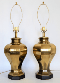 Large Vintage Brass Mid Century Modern Table Lamps by ...