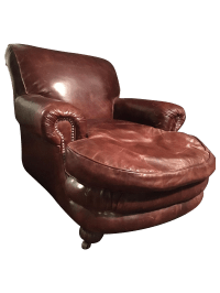 Restoration Hardware Brown Leather Library Chair | Chairish