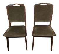 Green Velvet Upholstered Mid Century Modern Chairs