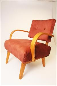 Mid-Century Modern Pink Upholstered Lounge Chair | Chairish