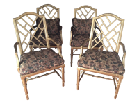 Faux Bamboo Chippendale Dining Chairs - Set of 4 | Chairish