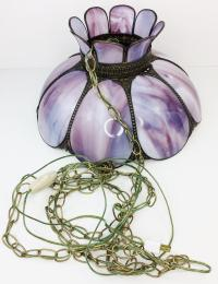 Vintage Purple Stained Swag Glass Chandelier | Chairish