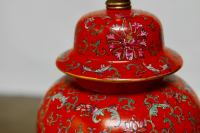 Chinese Red Ginger Jar Table Lamp | Chairish