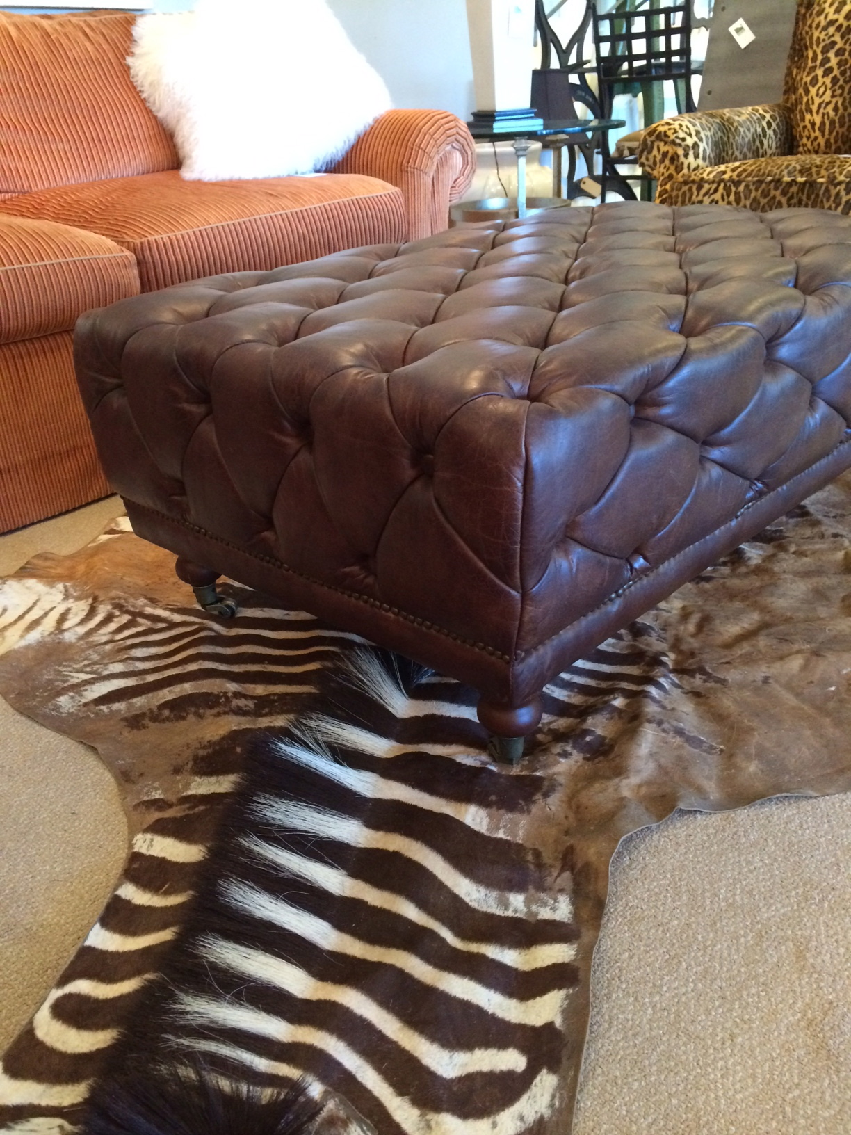 Brown Tufted Leather Rectangular Ottoman