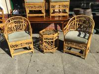 4 Chinese Chippendale Bamboo Chairs and Small Table   Chairish