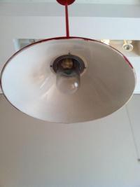 Red Industrial Pendant Lamp | Chairish