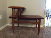Mid-Century Wooden Two Tier Side Table | Chairish