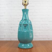 Mid Century Modern Geometric Pottery Lamp | Chairish