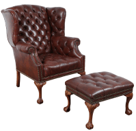 Vintage Tufted Leather Chair & Ottoman