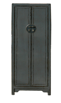 Chinese Rustic Gray Tall Narrow Storage Cabinet | Chairish
