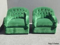 Vintage Pair of Mid Century Modern Tufted Green Velvet ...