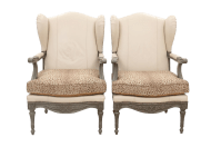 Louis XVI Style Leopard Wingback Chairs- A Pair | Chairish