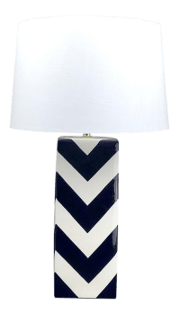 Navy Blue & White Chevron Ceramic Table Lamp   Chairish