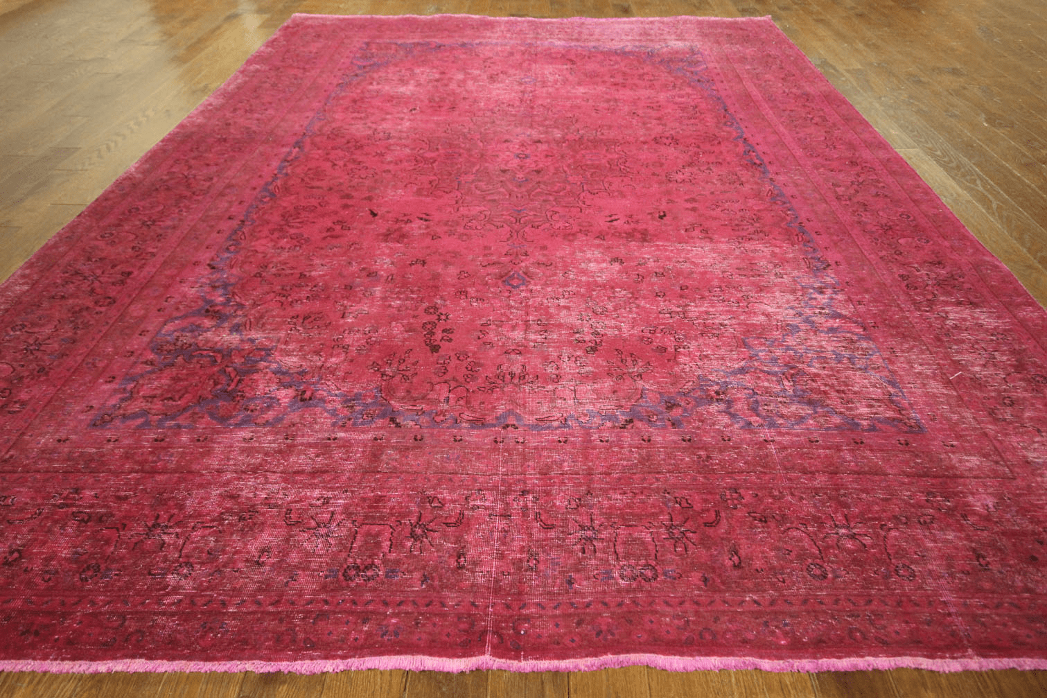 Pink Floral Overdyed Oriental Area Rug