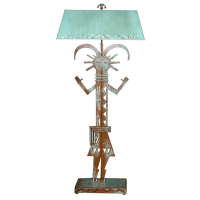 Ethnic Verdigris Copper Standing Lamp