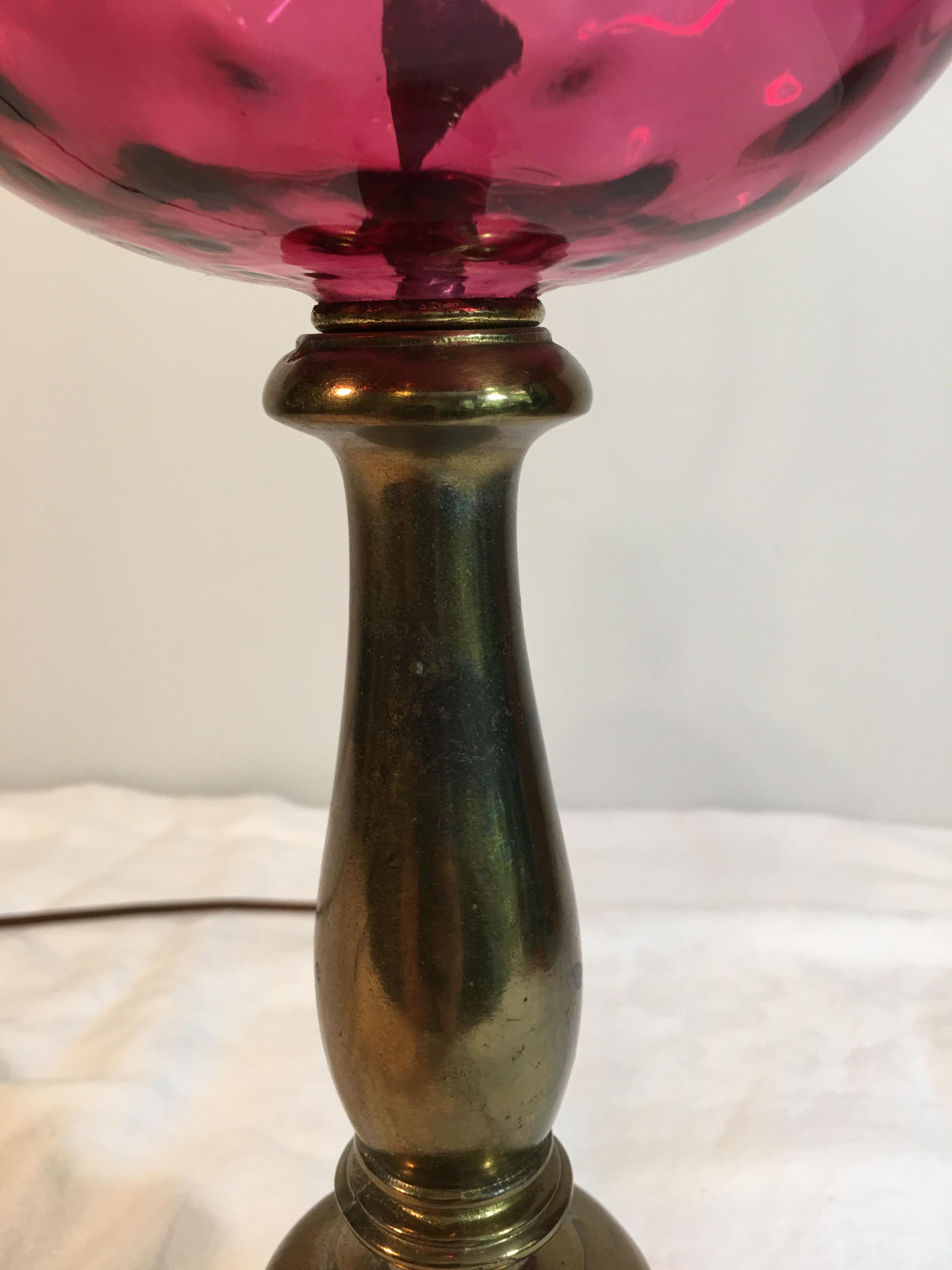 Vintage Cranberry Glass Lamp