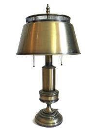 Vintage Brushed Brass Banker's Lamp | Chairish