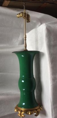 Emerald Green Chinese Porcelain Lamp With Bronze Base ...