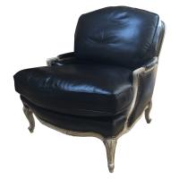 Louis XV Bergere Leather Chair & Ottoman | Chairish