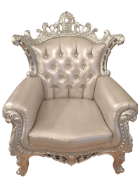 Baroque Style Silver Tufted Accent Throne Chair | Chairish