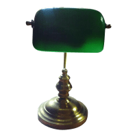 Vintage Brass & Green Glass Bankers Desk Lamp | Chairish