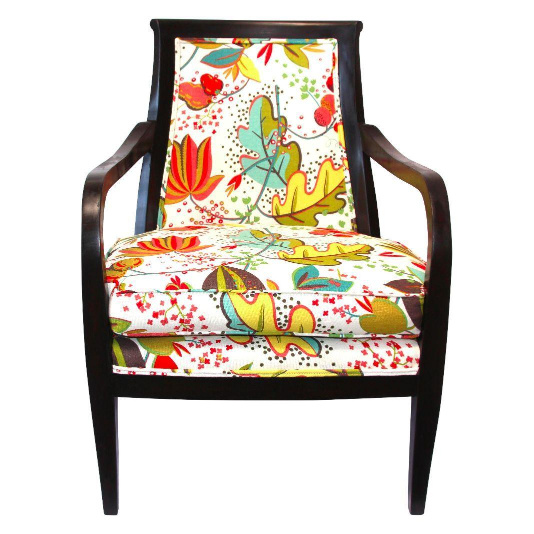 Wood Armchair in Floral Upholstery Chairish