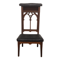 Antique Prie-Dieu Gothic Leather Prayer Chair | Chairish