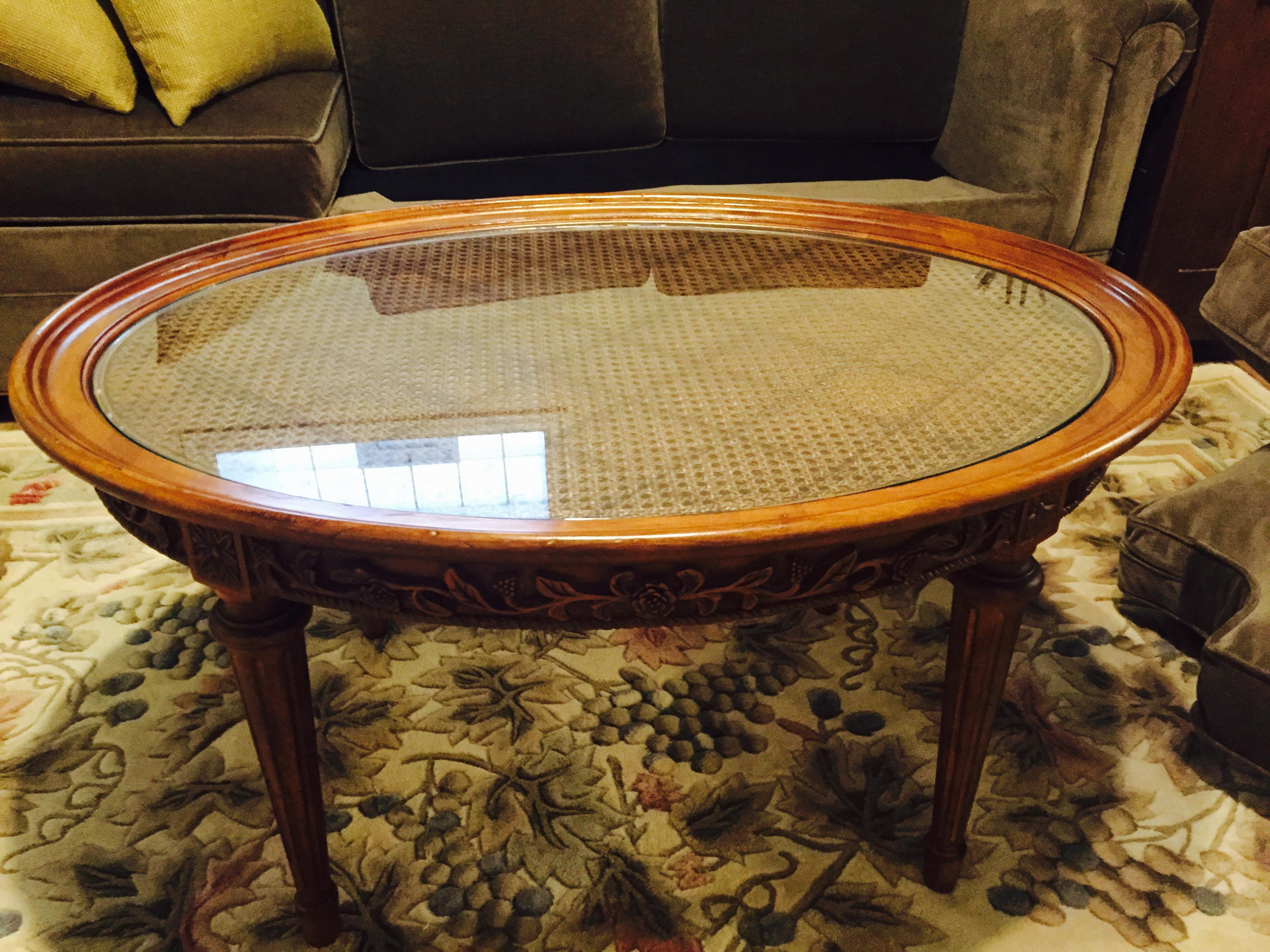 Lillian August Oval Wood & Glass Coffee Table  Chairish