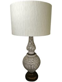 Vintage Hollywood Regency Tall Ceramic Table Lamp & Shade