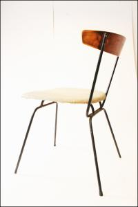 Mid Century Modern Iron & Vinyl Side Chair | Chairish