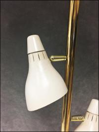 Mid Century Modern Pole Lamp with Tile Top Table | Chairish