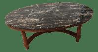 Marmi DI Carrara Marble Oval-Shaped Coffee Table | Chairish