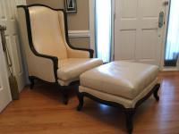 Creme Patterned Leather Chair & Ottoman