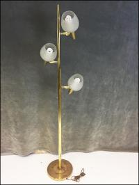 Mid Century Modern Gold Pole Floor Lamp with Glass Shades ...
