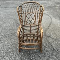 Rattan Fretwork Bamboo Wing Chairs- Set of 4 | Chairish