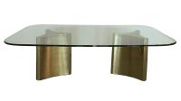 Mastercraft Brass Pedestal Dining Table | Chairish