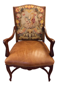 Antique Bergere Chair With Original Needlepoint | Chairish