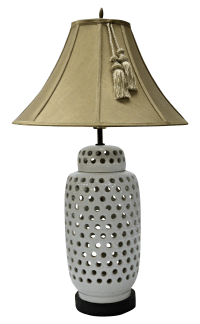 Mid-Century White Perforated Porcelain Table Lamp | Chairish
