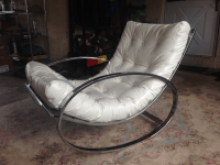 Selig Chrome & Leatherette Tufted Rocking Chair | Chairish