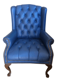 Blue Tufted Wingback Chair