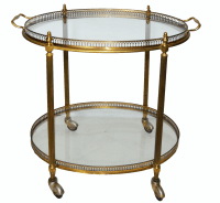 Vintage French Maison Bagues Oval Bar Cart | Chairish