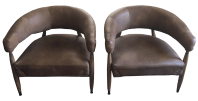 Restoration Hardware Leather Chairs - A Pair | Chairish