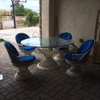 Mid-Century Spun Fiberglass Patio Dining Set | Chairish
